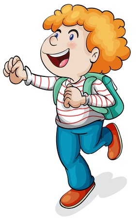 golden hair: illustration of a boy with school bag on a white background Illustration