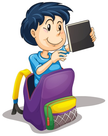 illustration of a boy in the school bag on a white background Vector