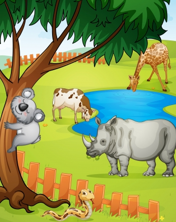 waterhole: illustration of various animals in nature