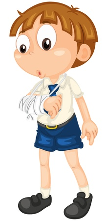 illustration of a boy with fractured hand on white Vector