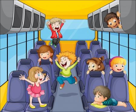 enfant banc: illustration d'un des enfants heureux dans le bus