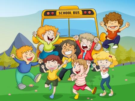 aplaudiendo: ilustración de los niños y los autobuses escolares en la naturaleza Vectores
