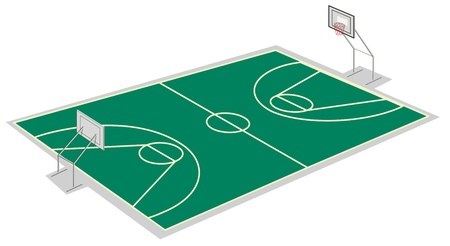 illustration of a basketball court on a white Vector