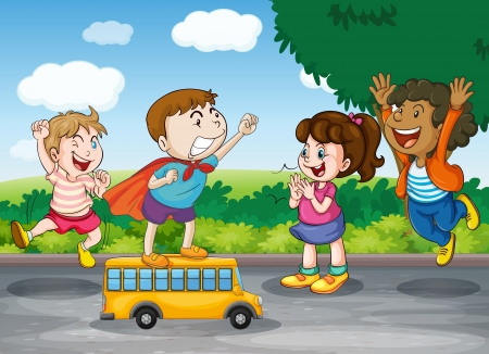 lanscape: illustration of kids and toy bus in nature