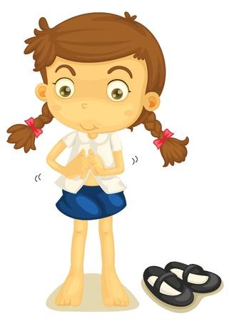 niños vistiendose: Ilustración de una niña en uniforme escolar sobre un fondo blanco
