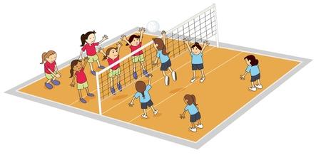 ilustraci�n de las ni�as jugando voleibol en la tierra