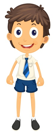 illustration of a boy in school uniform on a white Vector