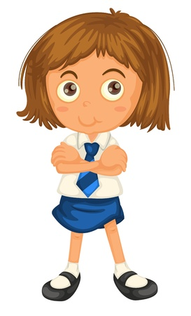 school activities: illustration of a girl in school uniform on a white