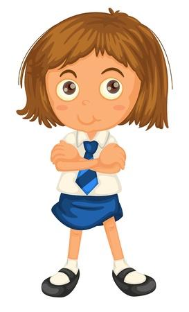 school girl uniform: illustrazione di una ragazza in uniforme della scuola su uno sfondo bianco