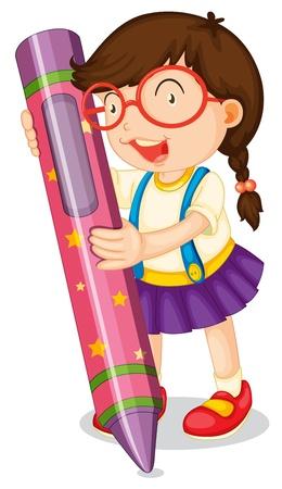 Ilustración de una niña con un lápiz sobre un fondo blanco Ilustración de vector