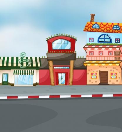 materiales de construccion: ilustración de un período de tres tipos de edificios
