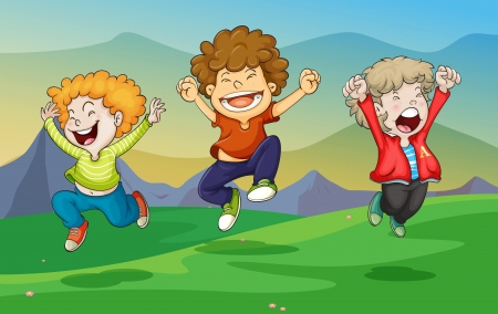 three children: illustration of a kids playing in nature