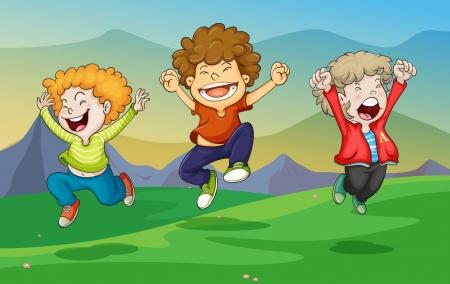 ni�o dibujo animado: Ilustraci�n de un ni�os jugando en la naturaleza Vectores