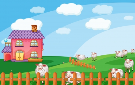 illustration of sheeps in nature Vector
