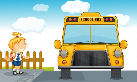 lanscape: illustration of girl and school bus in nature Illustration