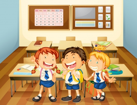 school girl uniform: illustration of kids in classroom in the school Illustration