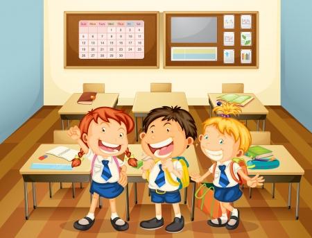 school girl uniform: illustrazione di bambini in classe nella scuola Vettoriali