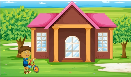 illustration of a boy infront of house Stock Vector - 14878897