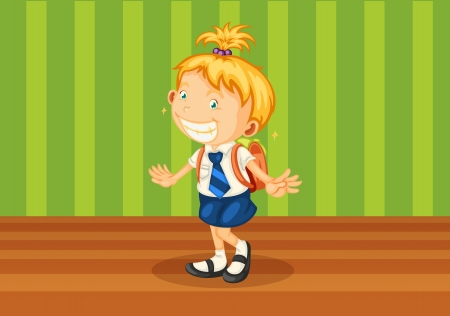 1 school bag: illustration of a girl with school bag Illustration