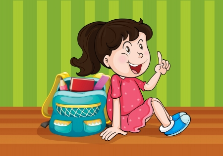 small scale: illustration of a girl with school bag Illustration
