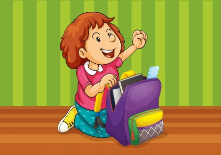 illustration of a girl with school bag Vector