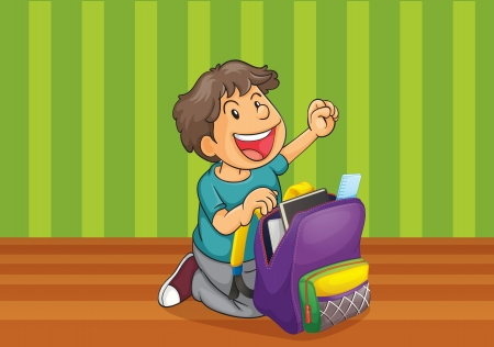 illustration of a boy with school bag Vector