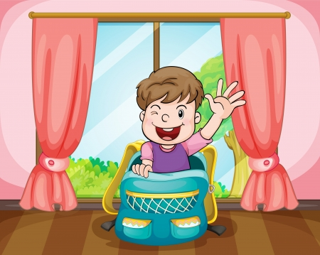 illustration of a boy sitting in school bag  Vector