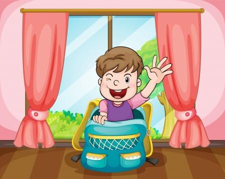 open window: illustration of a boy sitting in school bag