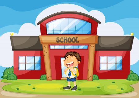 illustration of a boy infront of school Stock Vector - 14871570
