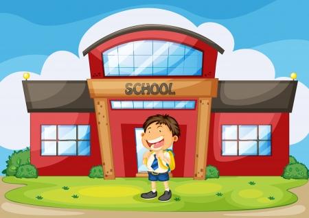 1 school bag: illustration of a boy infront of school