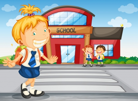 1 school bag: illustration of a kids infront of school