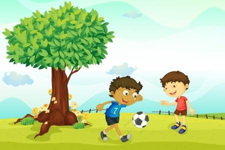 Ilustración de un niños jugando en la naturaleza Vectores