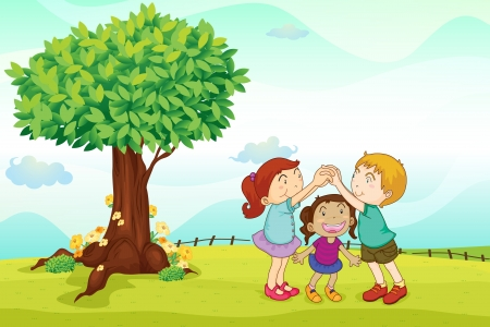 illustration of a kids playing in nature Vector