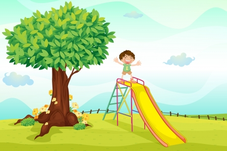 children playground: illustration of a boy playing in nature