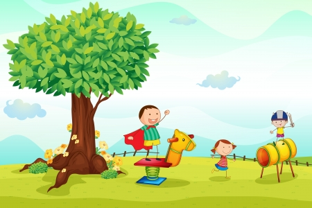 dětské hřiště: Ilustrace děti hrají v přírodě Ilustrace