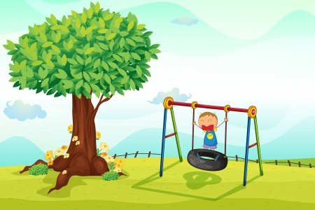 illustration of a boy playing in nature Vector