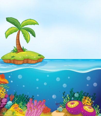 coral ocean: illustration of coral in water and palm tree on island