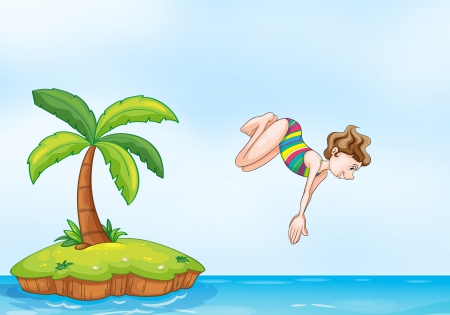 illustration of a palm tree and girl diving on a island Vector