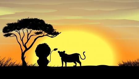 illustration of a Rhinoceros standing under a tree Vector
