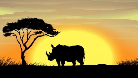 illustratie van een neushoorn staande onder een boom