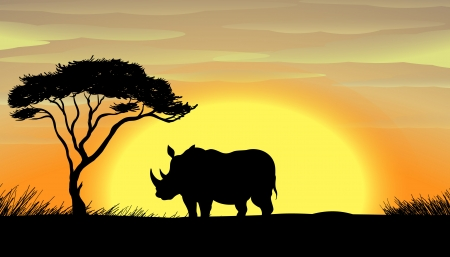 under a tree: illustration of a Rhinoceros standing under a tree