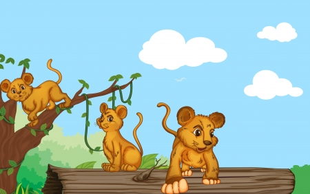 illustration of group of cubs and nature Vector