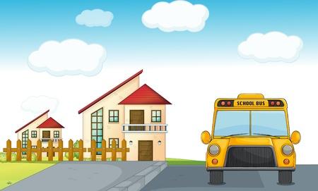 parada de autobus: ilustración de un autobús escolar en la carretera y la construcción de