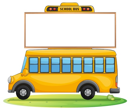 display window: illustration of a school bus and board on road Illustration