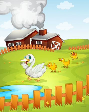illustration of ducks and ducklings in nature Vector