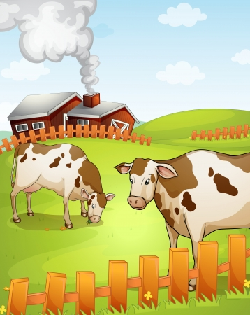 farm house: illustration of two cows in the nature