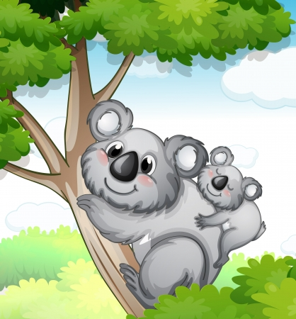 illustration of a bear sitting on tree in nature Vector