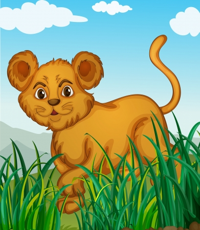 illustration of a cub walking in nature Vector