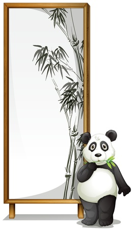 bamboo frame: illustration of a panda with the board