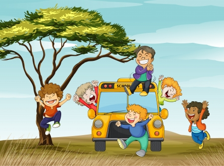 clapping: illustration of kids and school bus in nature